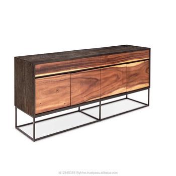 Suar Wood Steel Buffet Furniture