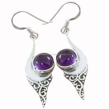 d15cb170be New fashion solid 925 sterling silver round amethyst gemstone earrings  wholesale jewellery indian silver jewelry