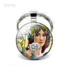 Flower Fairy Tale keychain The Princess and the Pea pendant jewelry keyring glass cabonchou ring Handmade purse Bag car Holder
