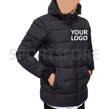 Custom Mens Padded Waterproof Hooded Puffer Jacket