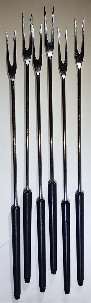 "Six Color-Coded Vintage Fondue Forks, Spring, made in Switzerland, Black Handles with Steel Forks, 11"" Long"
