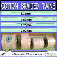 COTTON BRAIDED TWINE (Sizes: 1mm, 1.25mm, 1.5mm, 1.75mm, 2mm) Thin Braided Cords in 100% Pure Cotton