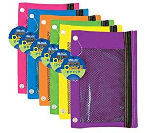 3-Ring Pencil Pouch with Mesh Window, Color: Bright (2-Pack)
