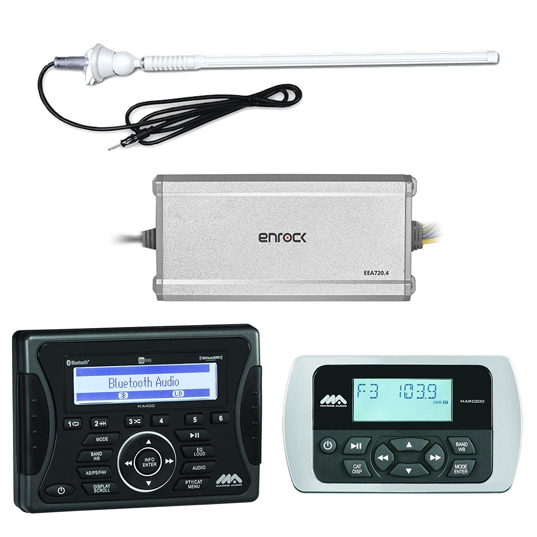 "Jensen Marine Audio Bluetooth AUX USB SiriusXM-Ready Receiver, Wired Remote, Enrock Boat 4-Channel Marine Powersports Amplifier, Enrock 20W 22"" Rubber Mast Marine AM/FM Radio Antenna - White"