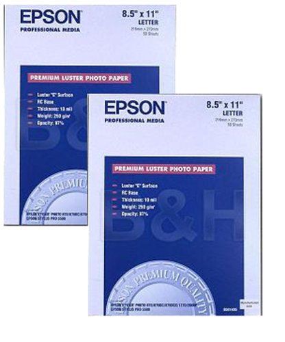 Epson Premium Luster Photo Paper Twin Pack (8.5x11, 100 Sheets, S041405-Bundle)