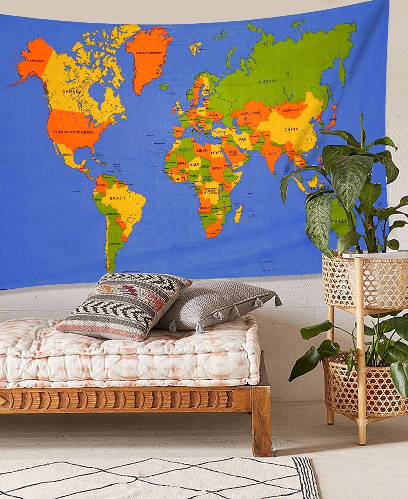 100 Map Tapestry Large Old World
