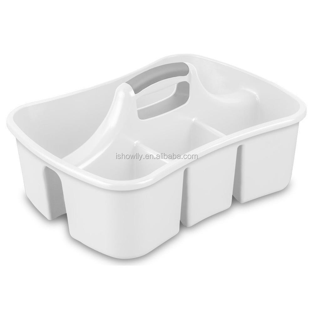 Custom Medium Clear Caddy Basket With Handle Cheap Plastic Handy ...