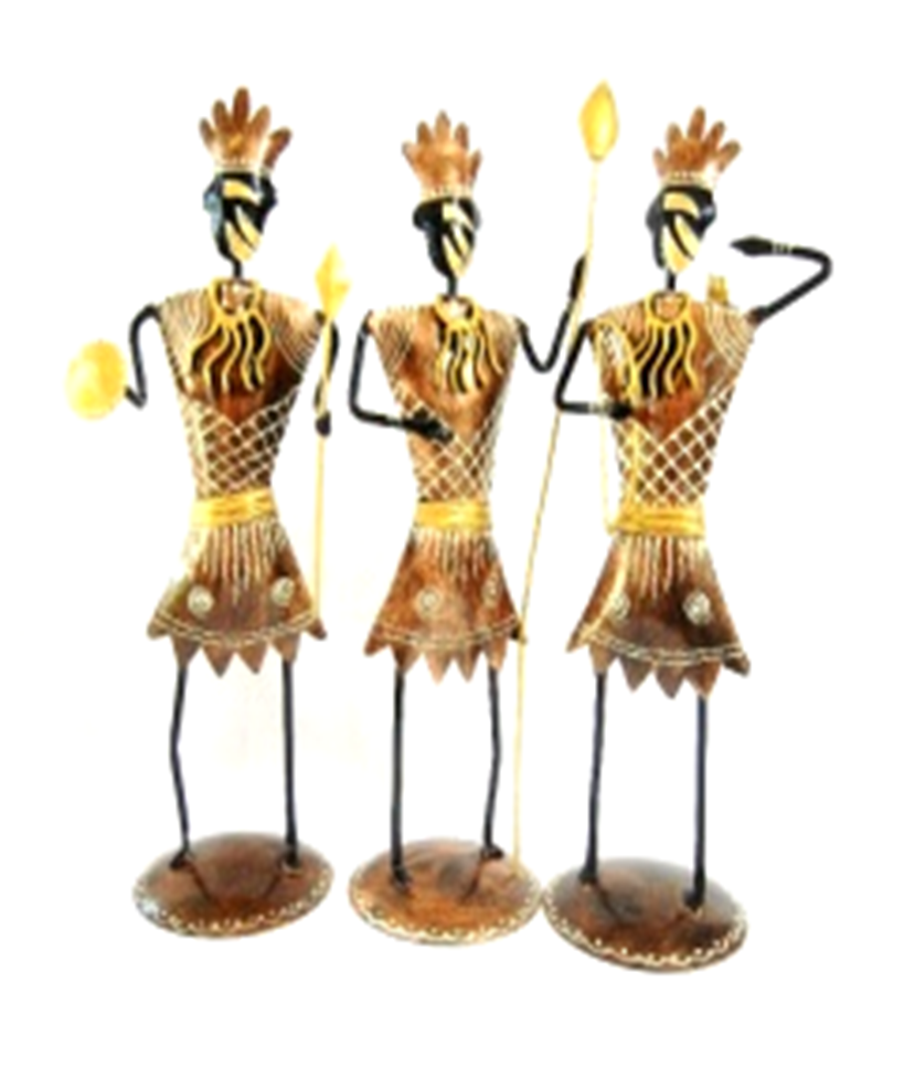 Indian Beautiful Handmade Painted Metal Set of 3 Unique Home Decor Showpiece African Tribe Hunters