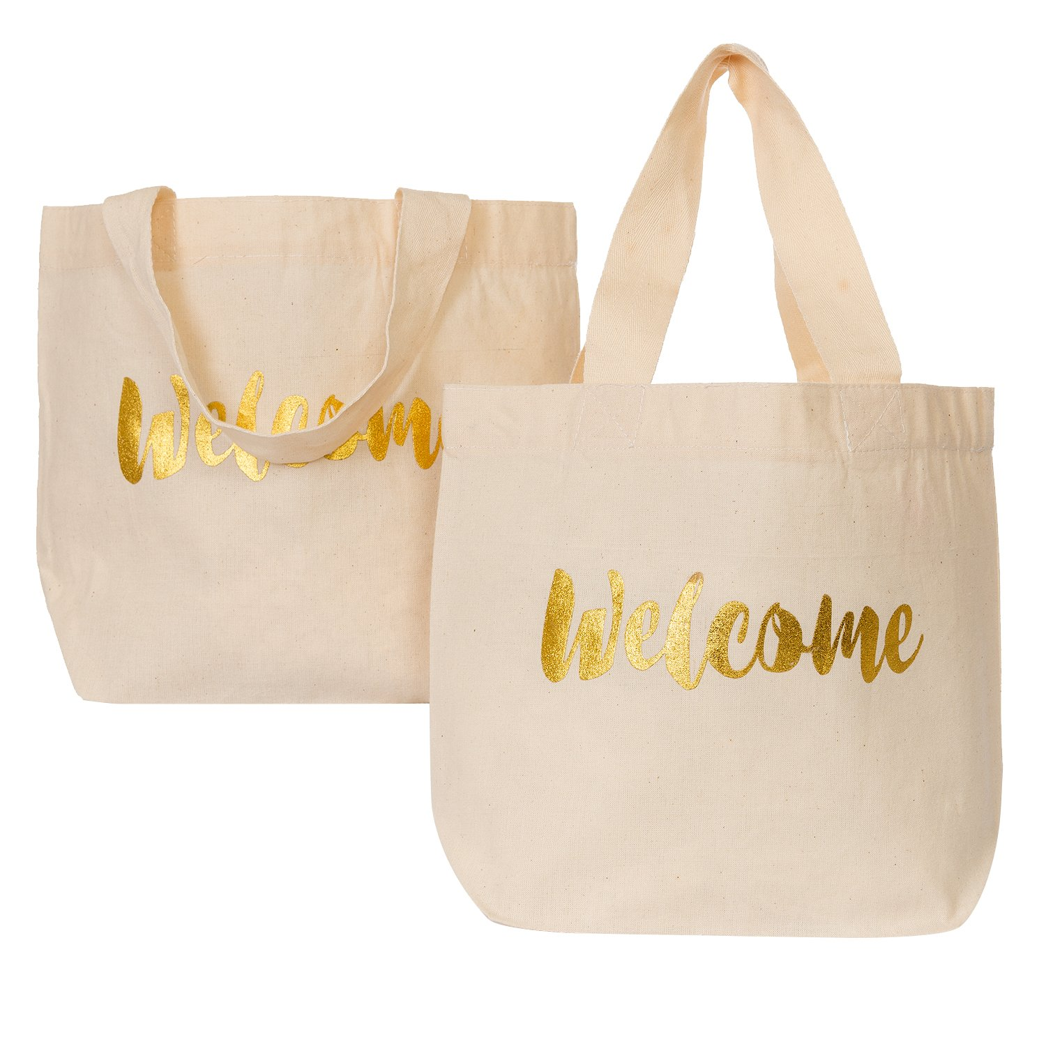 Ling's moment Wedding Welcome Gift Bag Medium Canvas Tote Bag for Hotel Guests Wedding Favors Christmas Thanksgiving Party Gift Bags, Soft Sturdy Fabric and Handle, Reusable, Set of 10