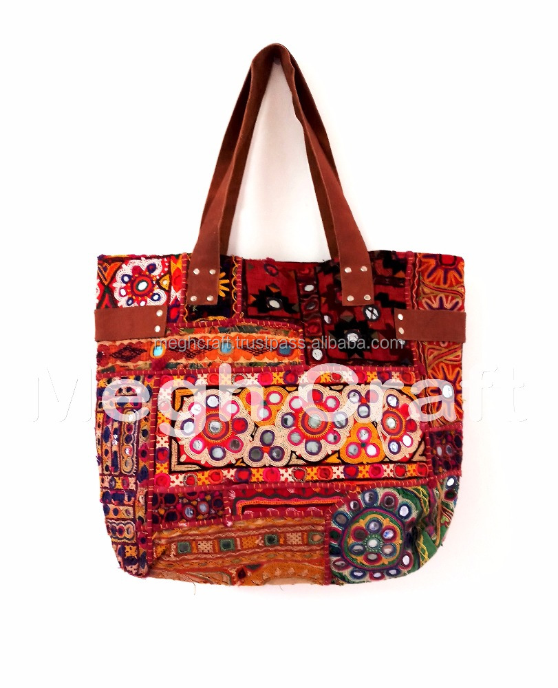 faee0f19feff Cotton Banjara Tribal Indian Style tote bag- Gypsy Banjara Tote Bags -  Handmade embroidery leather banjara handbag