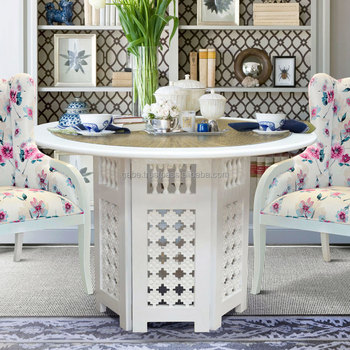 Furniture For Dining Table Moroccan Style Round Top With Glass White Color    Buy Handmade Round Table Furniture,Arabic Style Furniture,Moroccan Table  ...