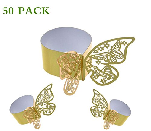 Birthday Party Banquet Anniversary Table Decoration White Laser Cut Serviette Rings Name Card with Hollow Design for Wedding Glasses 50pack Wedding Place Cards /& Butterfly Napkin Rings
