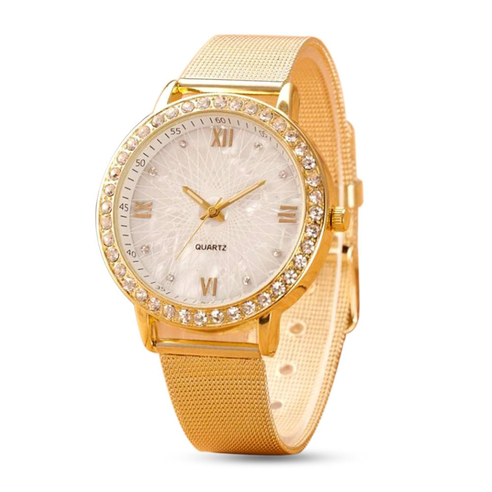 Clearance! SINMA Women Exquisite Watch Crystal Roman Numerals Gold Mesh Band Bracelet Quartz Wrist Watch
