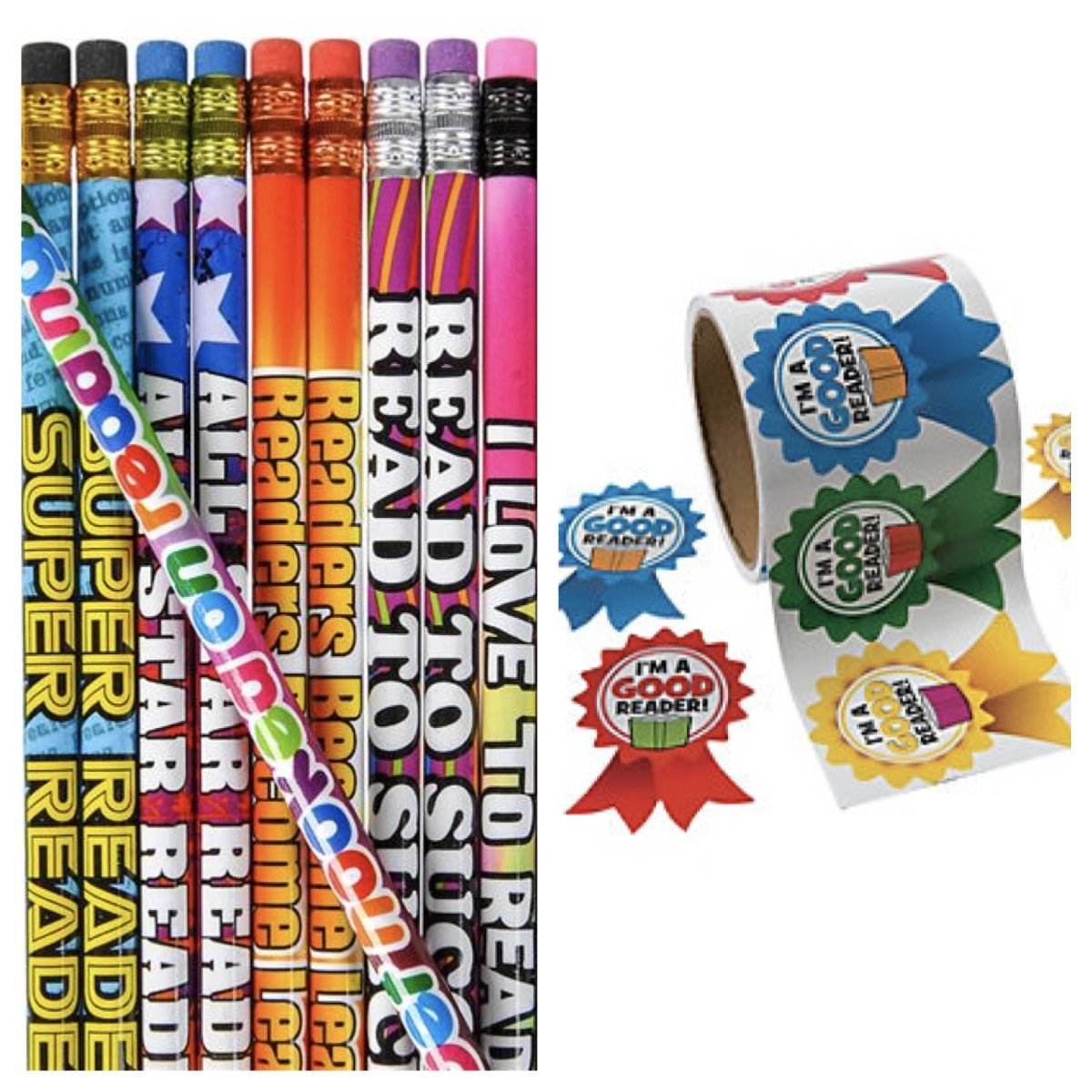 2 Dozen (24) Reading Pencils & 24 Jumbo I'm a Good Reader Ribbon Stickers - Teacher Classroom Rewards Recognition Motivation