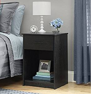 Small Bedside Table / Elegant 1-Drawer Nightstand / Small Entryway Table / Small Side Table / End Table / Night Stand / Coffee Table, Black Ebony Ash - Includes FREE (TM) EBOOK
