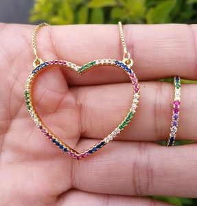 Rainbow zirconia gold plated heart necklaces for valentine's day