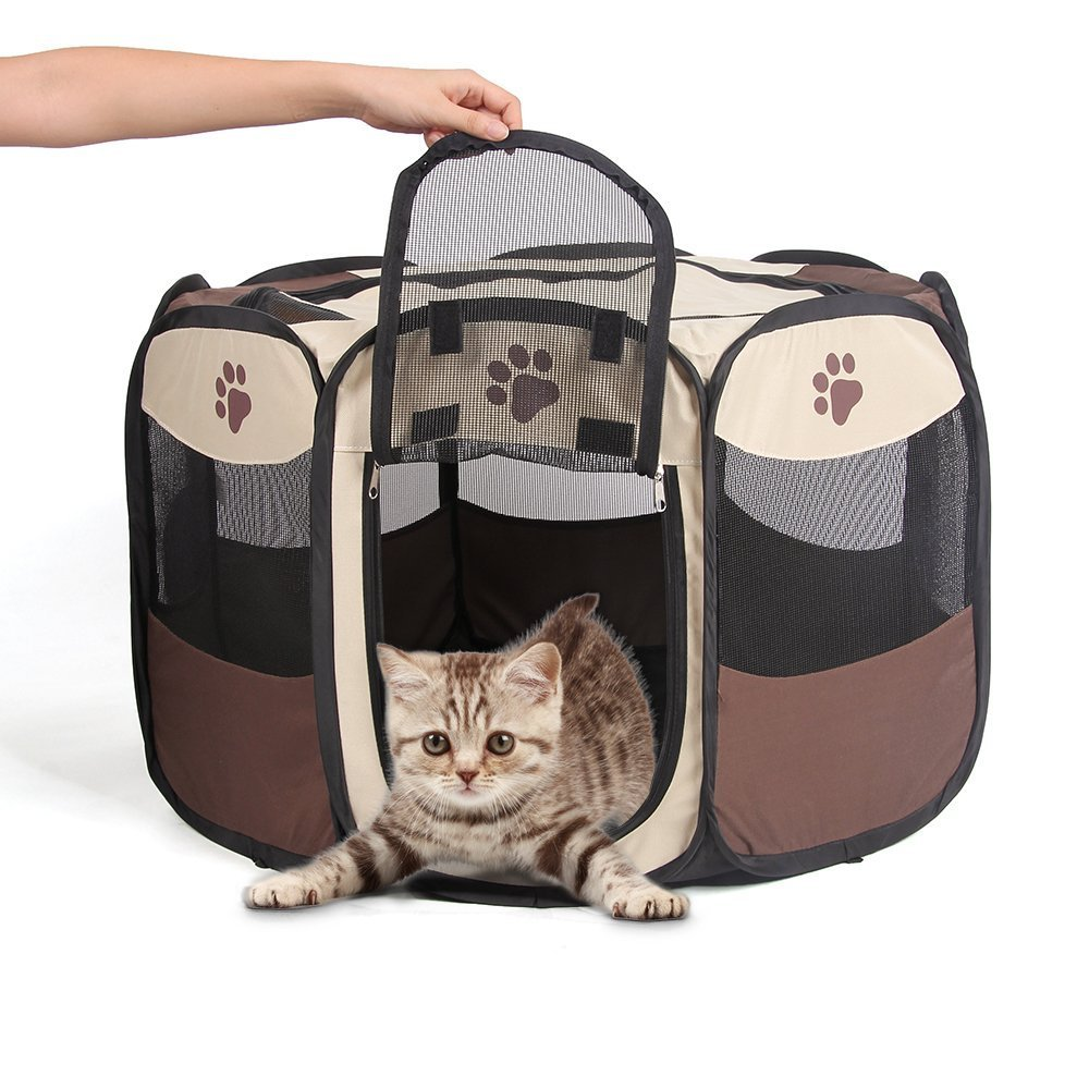 Puppy Playpen Portable Pet Playpen Waterproof Animal Pen Rabbit Pen Foldable Cat Playpen Dog Playpen Airflow Zipper Door with Mesh Cover for Small Dog Kitten Cat Rabbit Exercise Kennel Outdoor Indoor