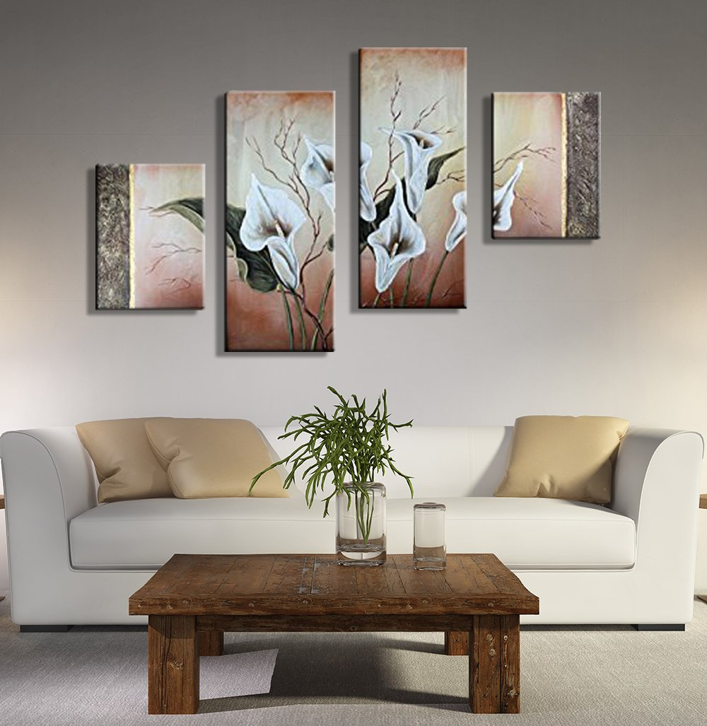Noah Art-Modern Flower Wall Art Home Decor, 100% Hand Painted On Canvas 4 Panel Piece Framed Flower Paintings Nature, Ready to Hang for Kitchen Home Decor Wall Decorations