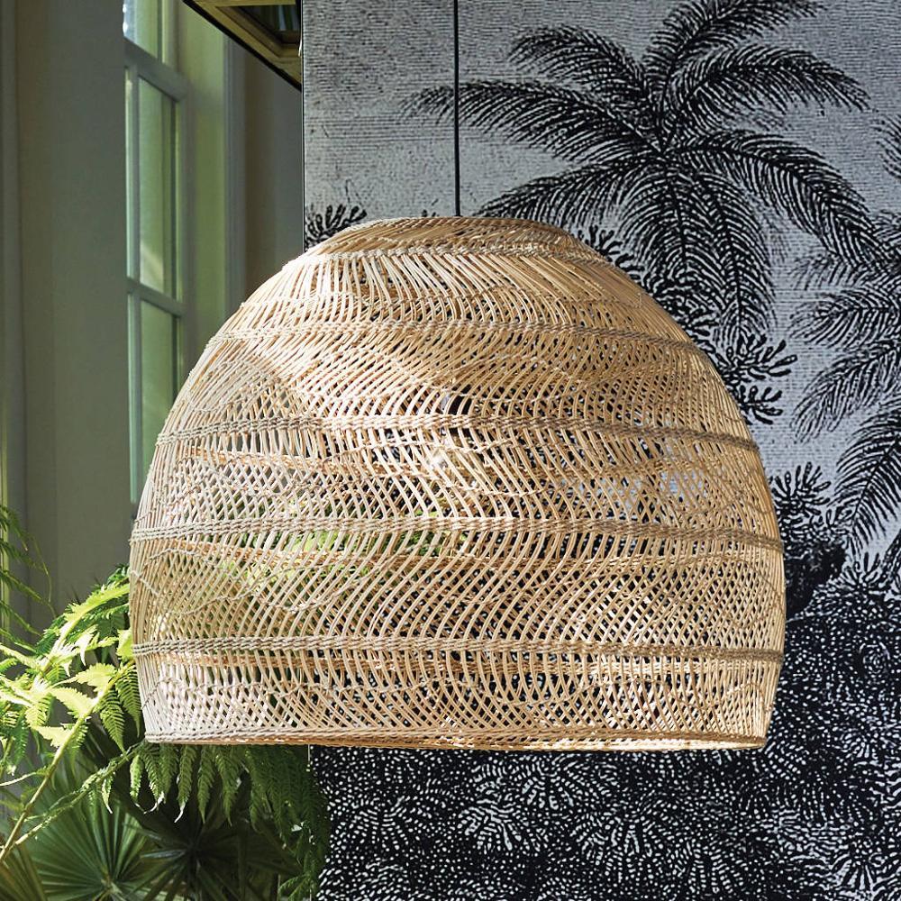 Hot selling home decor restaurant natural pendant hanging decorative light rattan lamp shade