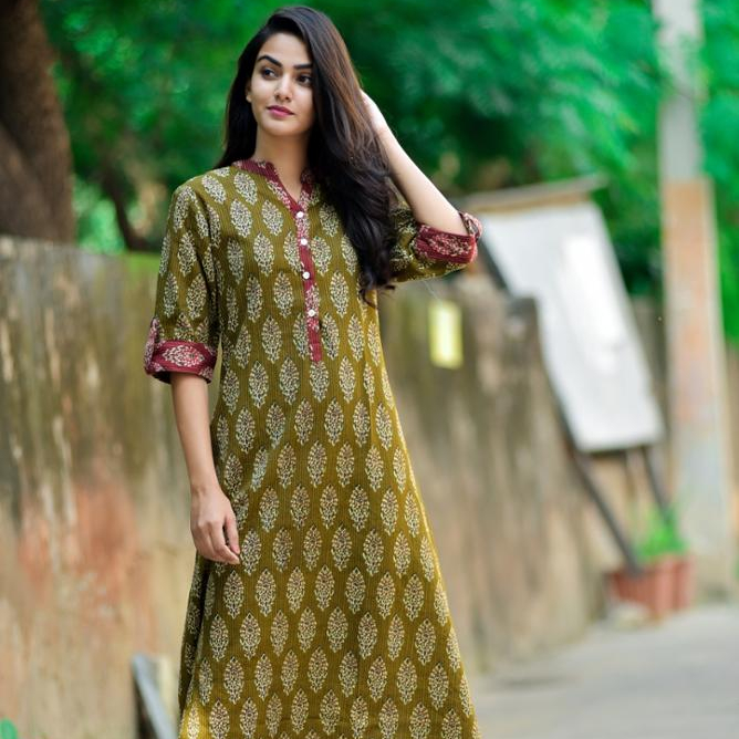Party wear summer casual long shirts club wear indian cotton traditional fabric floral print green dress tunic