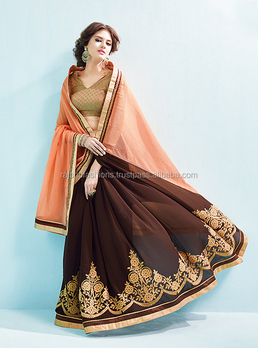 Pleasant Orange Brown Color Combination Spreding Colours Designer Printed Sarees
