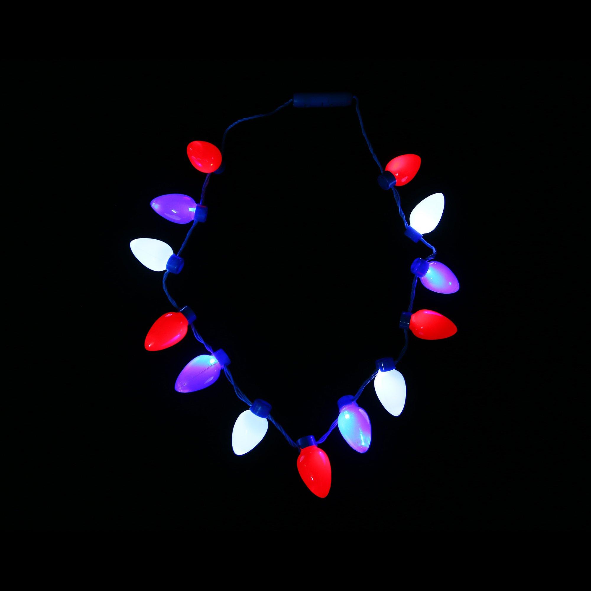 Fun Central AM613 12 pcs LED Light Up Bead Necklace Flashing Lights Necklace-Assorted LED Necklace Long Beaded Necklace Flashing Light Glow in the Dark Necklace Glow Bead Necklace