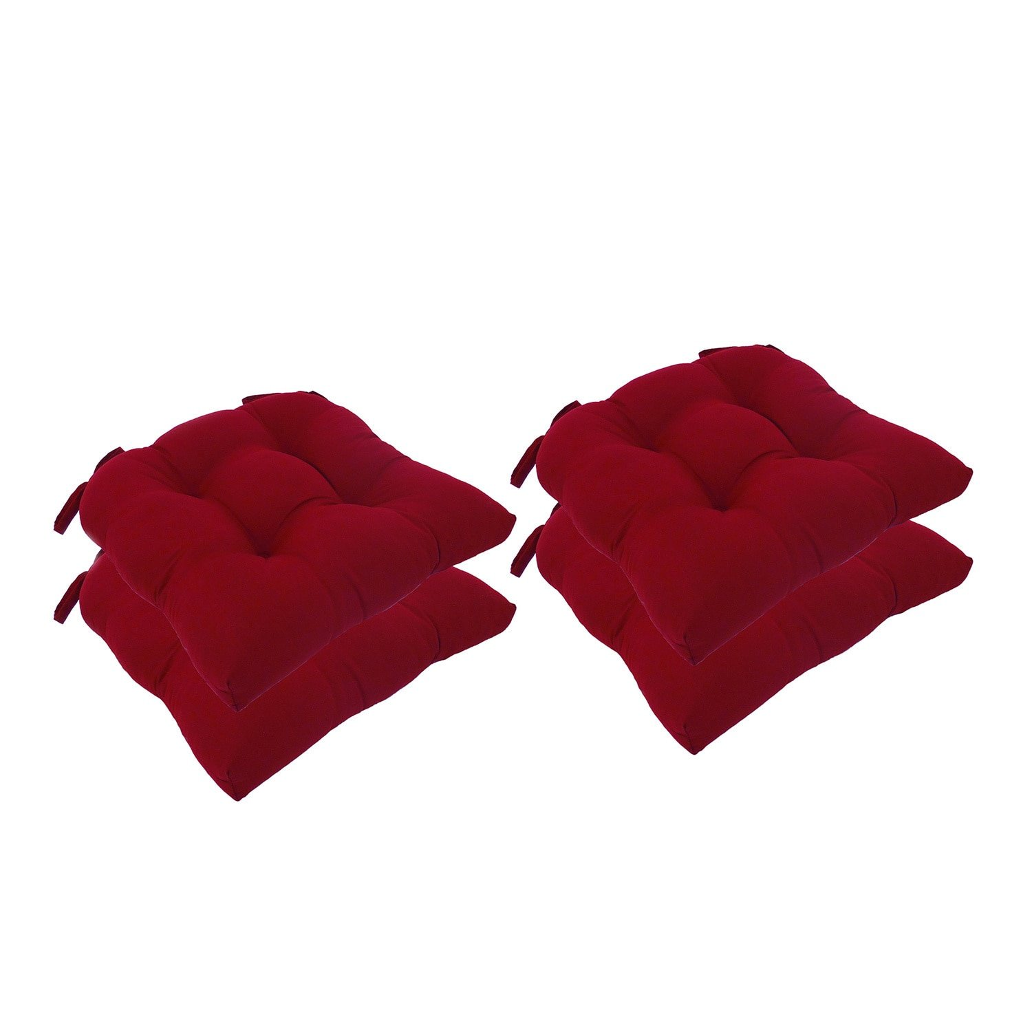 Essentials Micro Fiber Set of Four (4) Seat Cushions Barn Red-Comfortable, Indoor, Dining, Living Room, Kitchen, Office, Den, Washable, Fabric Ties Chair Pad, Piece