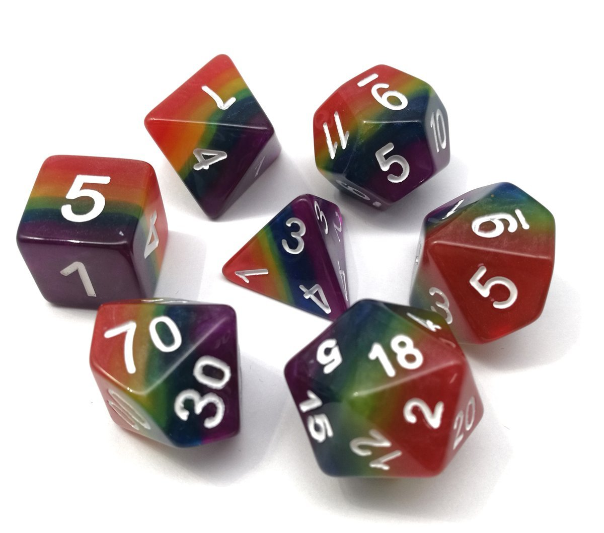 Polyhedral Dice Sets Rainbow Dice - for Great for Dungeons and Dragons Tabletop, Roleyplaying & DnD Games, Math & MTG including Pouch