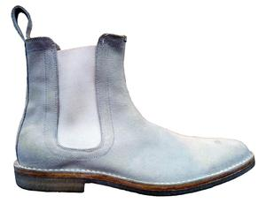 New Handmade Mens White Chelsea Suede Leather Boots with Crepe Sole, Men Boots