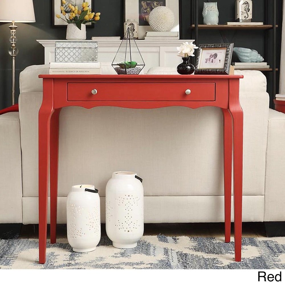 iNSPIRE Q Modern Daniella 1-drawer Wood Accent Console Accent Console Entryway Sofa Table Desk Bold Red