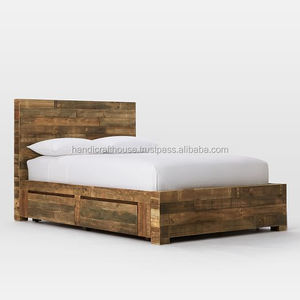 Industrial Vintage Indian Solid Old Wooden King Size Storage Bed