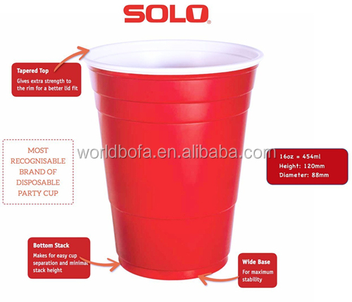Wholesale 16oz plastic red party solo jazz cups beer pong cups