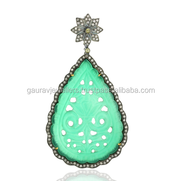 30.55ct Green Onyx Diamond 925 Sterling Silver Carved Pendant Jewelry