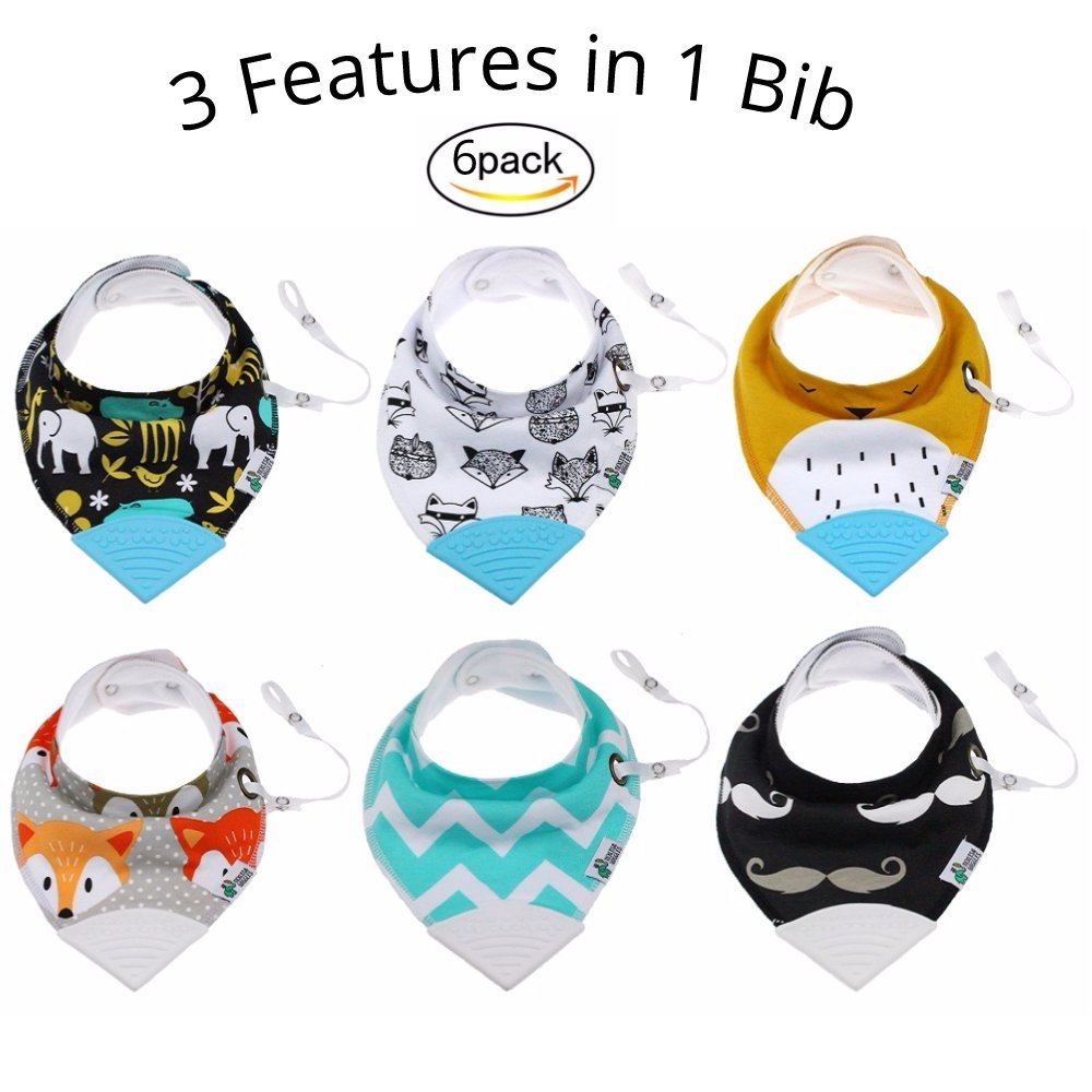 Tickles & Wiggles Organic Cotton Bandana Baby Bibs for Teething, Drool, Food - Shower Registry Gifts for Infants, BPA Free Silicone Teether Toy, Adjustable Snaps, Pacifier Tether