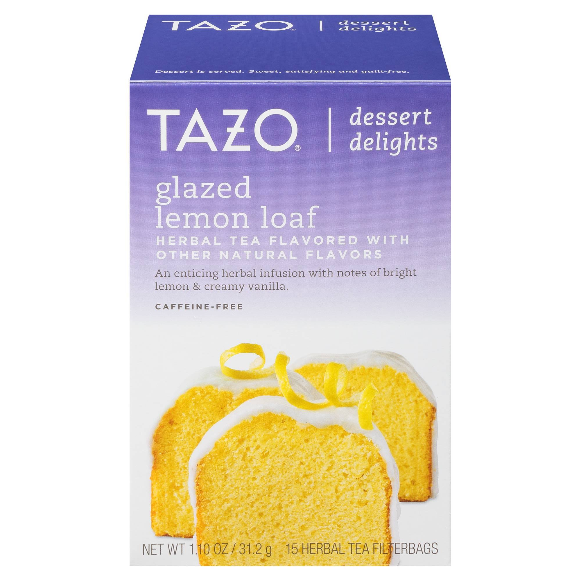 Tazo Glazed Lemon Loaf Dessert Delights Tea Bags 15c Black Tea filterbags, total 1.10 oz , pack of 1