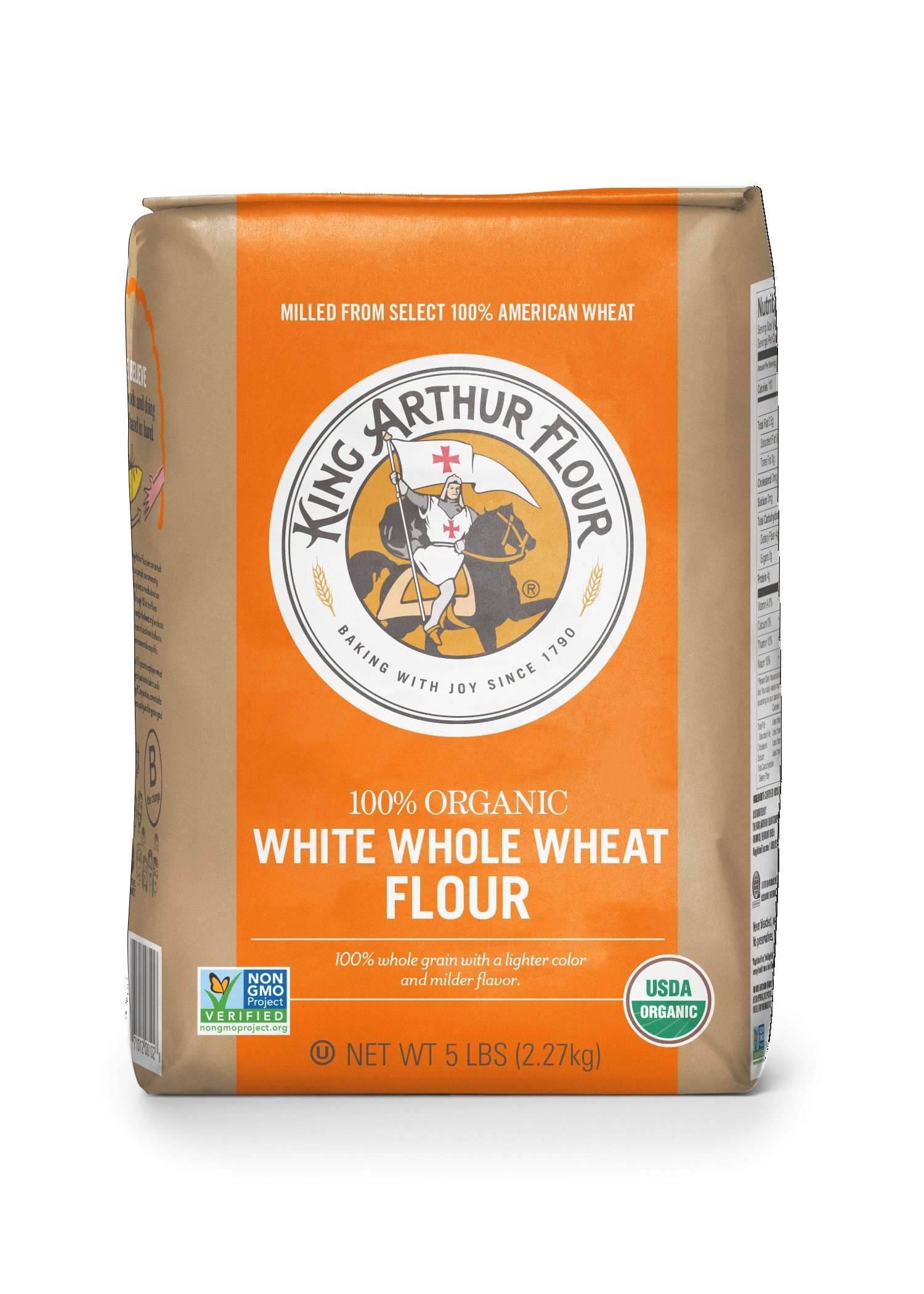 King Arthur Flour 100% s Organic Unbleached White Whole Wheat Flour, 5 Pound