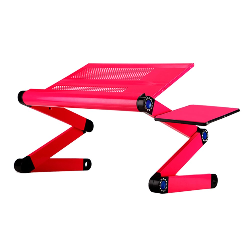 YUMU Portable Folding Aluminum Laptop Desk Stand Table with Mouse Pad Ergonomic Comfortable Notebook Table Stand TV Bed Tray HT1000A-02