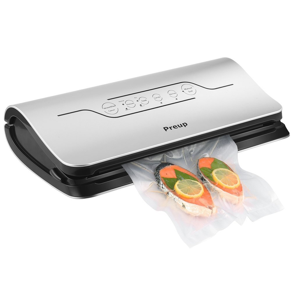 Preup Automatic Food Vacuum Sealer, Packing Machine for Food Storage and Preservation, with Starter Kit of Saver Roll, Bags and Hose, LED Indicator, Manual Seal Function, Dry & Moist Food Mode