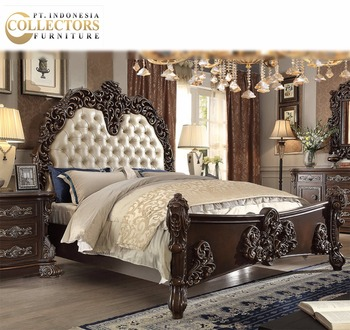 Cheap Wholesale Mahogany Wood Queen Bed Set Victorian Bedroom