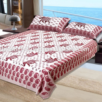573d8079a6 King Size Wholesale Elephant Hand Block Printed Cotton Bed Sheet ...