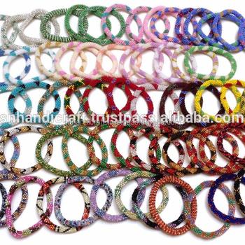 Wholesale Nepal Glass Beaded Roll On Crochet Bracelets Buy