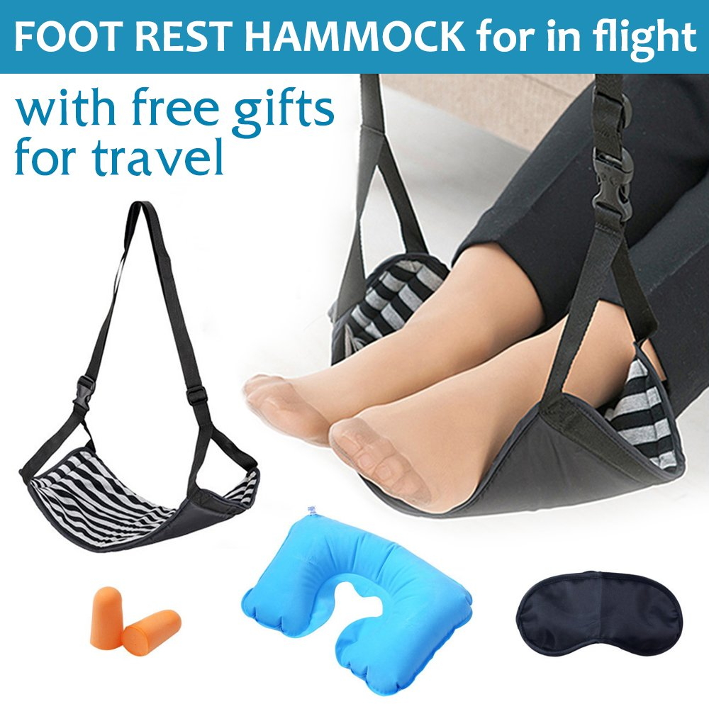 Travel Footrest for Airplane, Portable Foot Rest Flight Foot Rest Hammock Feet Rest for Plane Desk Office with Free Inflatable Pillows & Eye Mask & Earplug Travel Accessories
