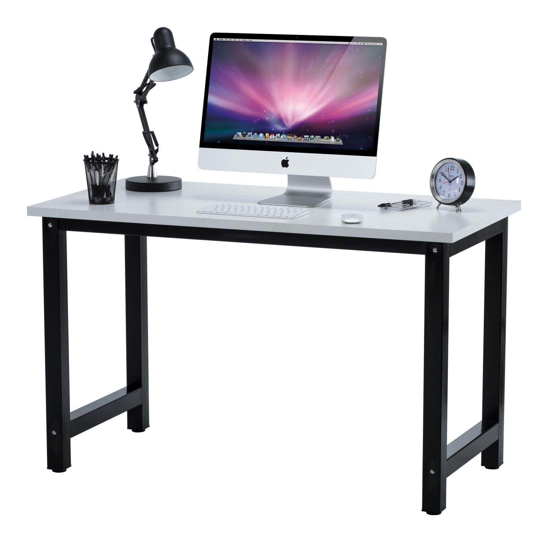 "Fineboard 47"" Stylish Home Office Computer Desk Writing Table Elegant & Modern Design, White/Black"