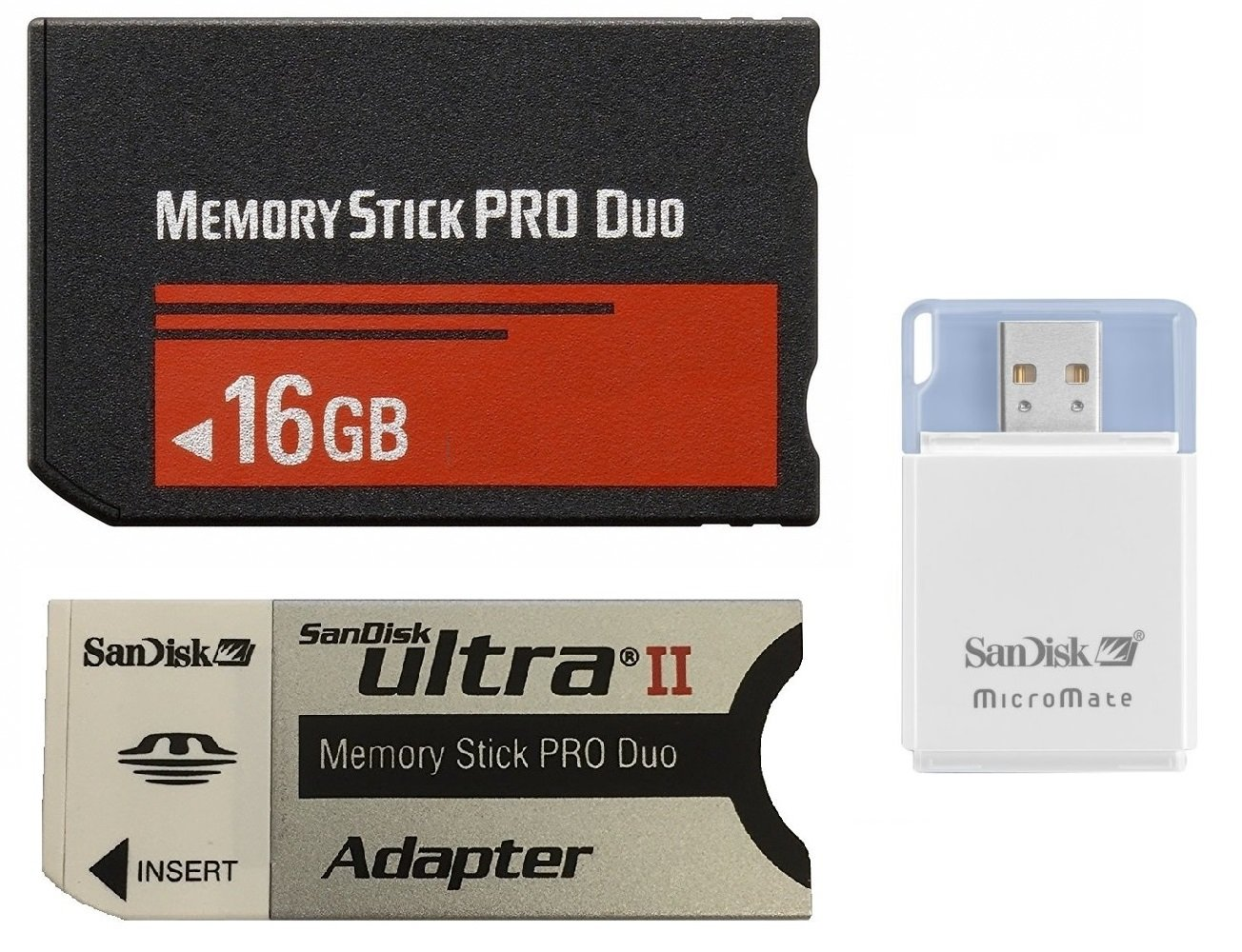 16 GB Memory Stick PRO Duo Flash Memory Card FVMSPD-016G Plus Micromate reader and Adapter