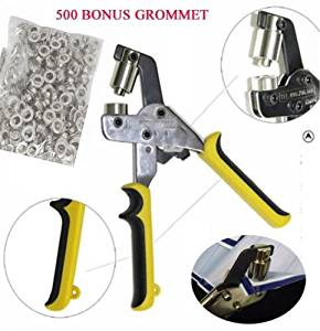 DSM Handheld Hand Press Portable Grommet Machine Hole Punch Tool w/ 500 Grommets Grommets Hand Eyelet Press Hole Punch Tool for Vinyl Banner Sign Piler (Die Set Cannot Be Changed!) (Silver Grommet)