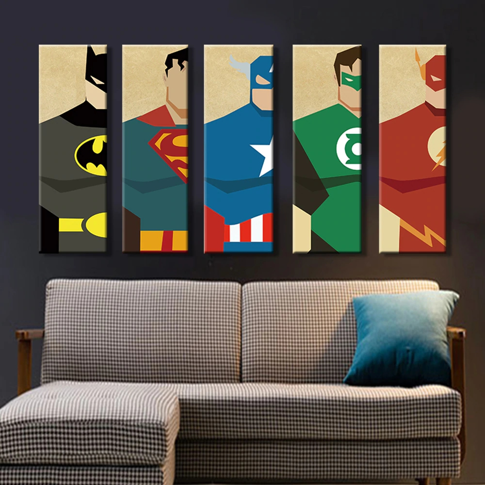 Superman Canvas Painting 5 Pieces Superhero Modern Home Wall Decor Canvas Art HD Print Wall <strong>Pictures</strong> For Child Bedroom Unframed