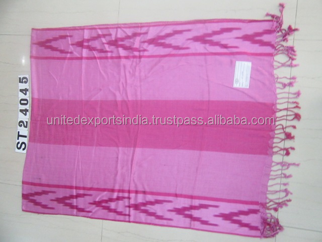 Viscose fancy Scarves with 2 side fringes.