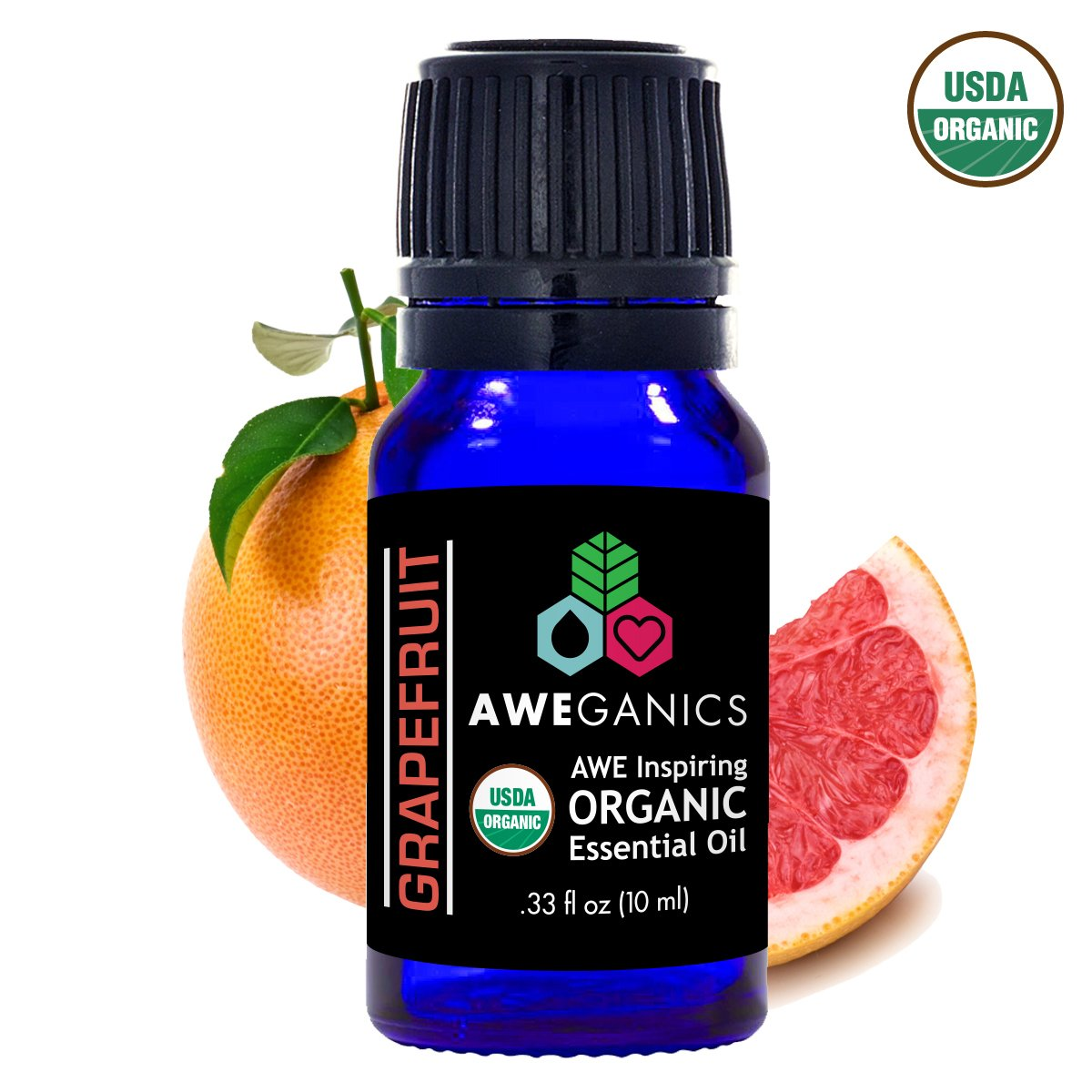 Aweganics Pure Grapefruit Oil USDA Organic Essential Oils, 100% Pure Natural Premium Therapeutic Grade, Best Aromatherapy Scented-Oils for Diffuser, Home, Office, Women, Men - 10 ML - MSRP $14.99