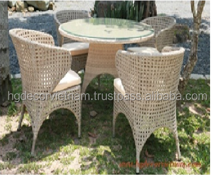 Elegant poly rattan dining set with cushion, outdoor furniture, made in Viet Nam