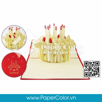 The Strawberry Birthday Cake 3D Pop Up Cards Greeting Card